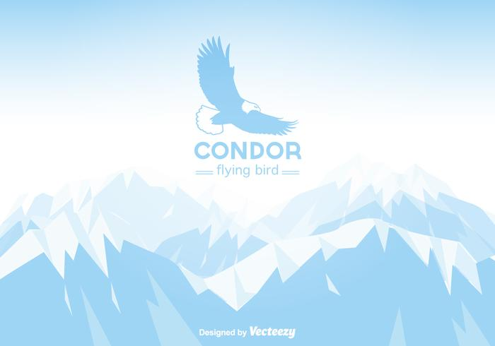 Gratis Vector Winter Mountain Landskap med Condor