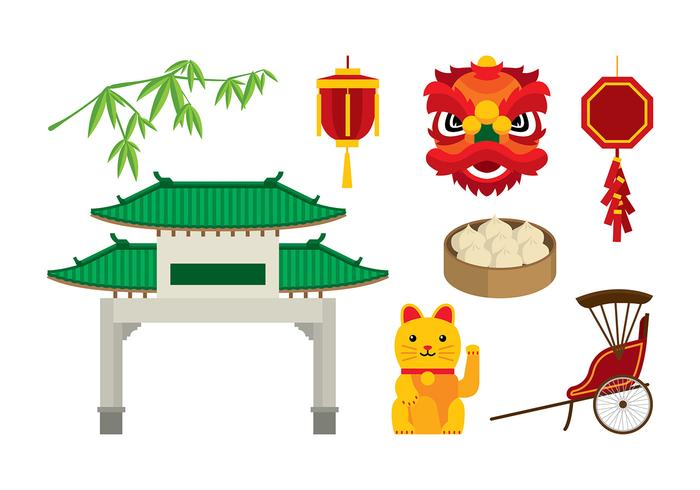 China Town Element Vector Gratis