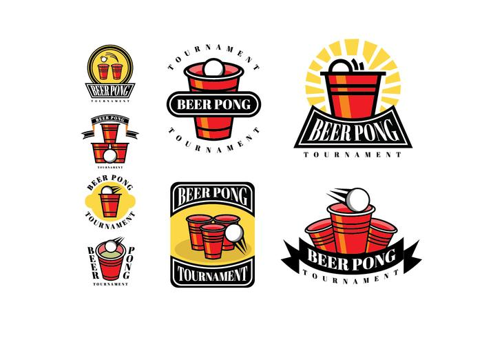 Parches y logotipos de cerveza Pong vector