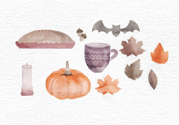 Vector Fall Watercolor Elements