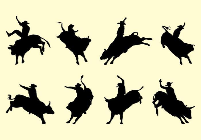 Bull Rider Silhouettes vector