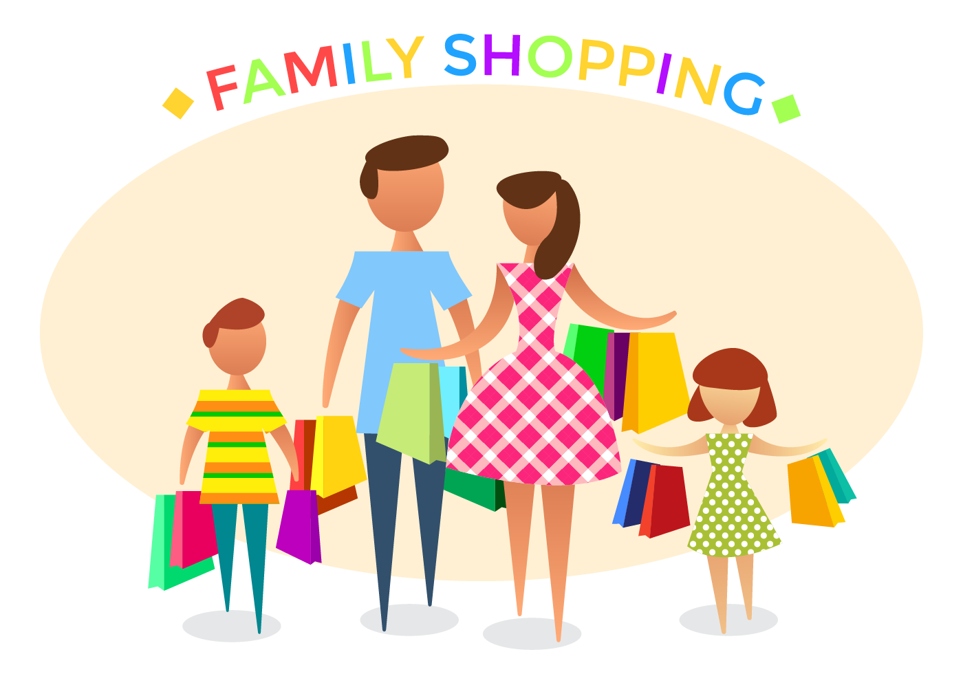Free Family Shopping Vector - Download Free Vector Art ...