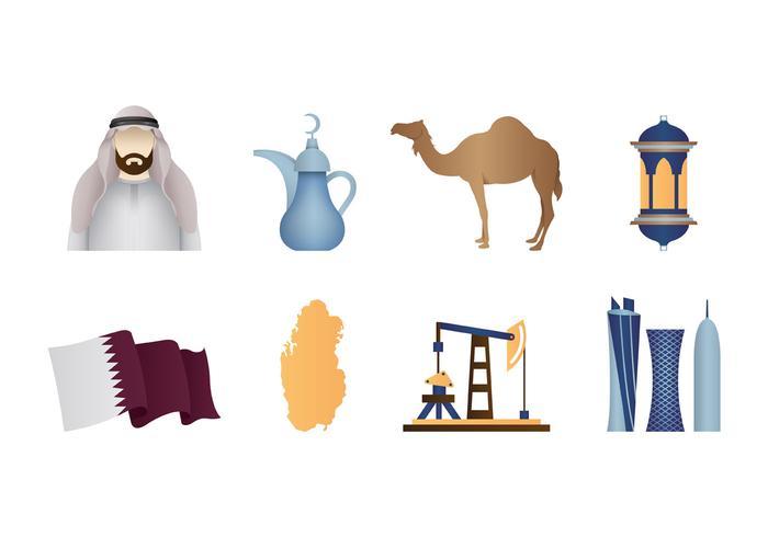 Vecteur d'icônes de Qatar