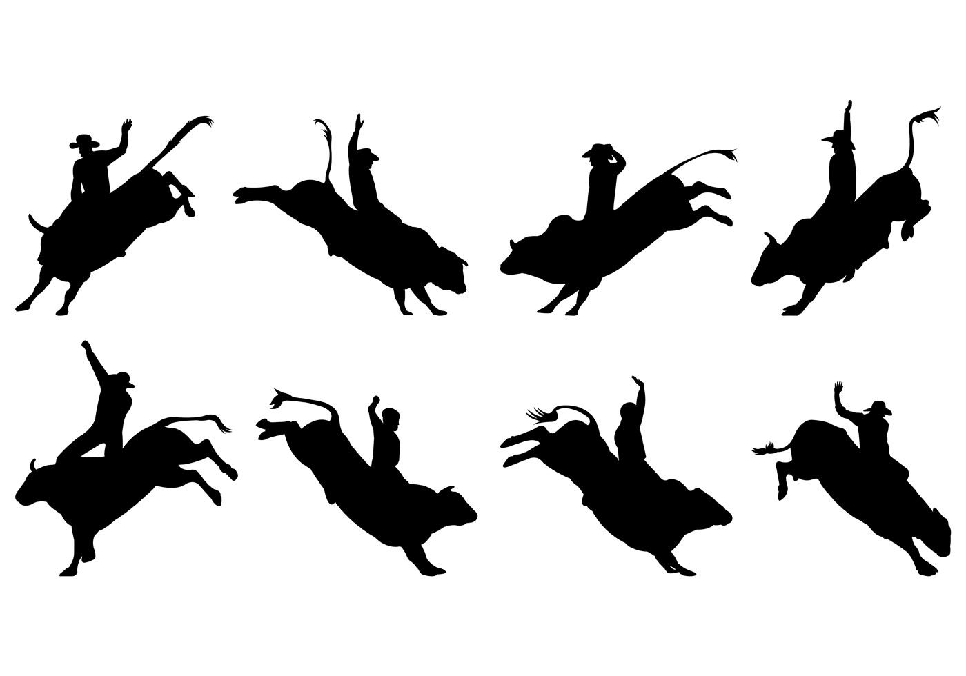 Bull Rider Silhouettes - Download Free Vectors, Clipart ...