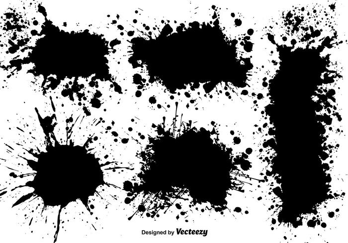Vector Set Of Black Splatters