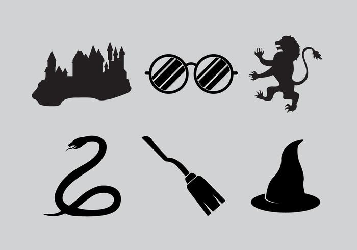 Spooky wizard spells silhouettes vector