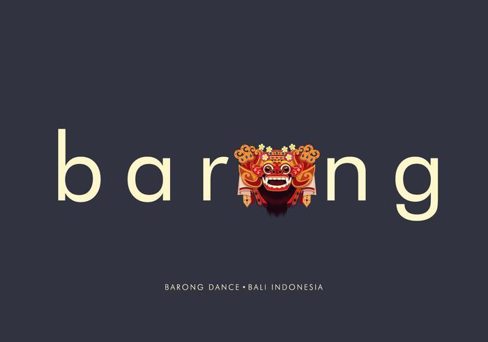 Barong Bali Typografi Illustration