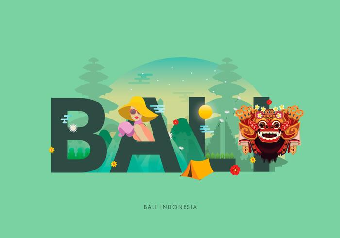 Barong Bali Typographie Illustration vecteur