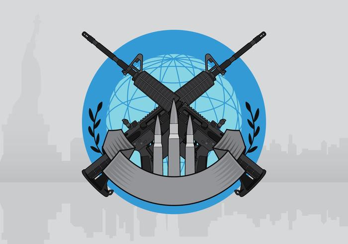 AR15 Badge Illustratie Sjabloon