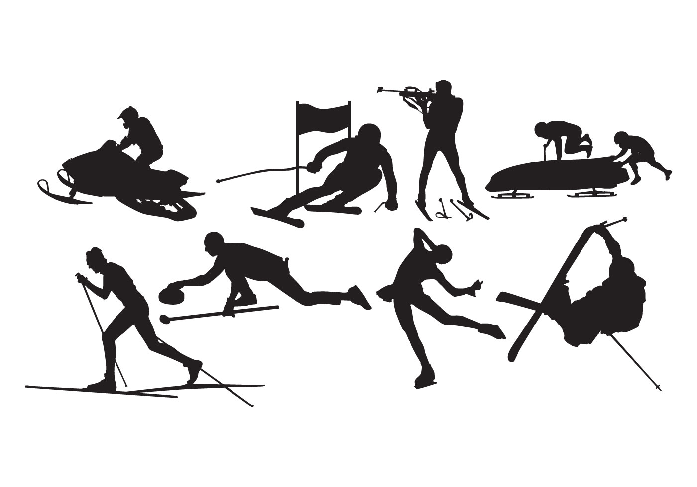 Dynamic Sports Figures Silhouette: Winter Sport Silhouette Vector