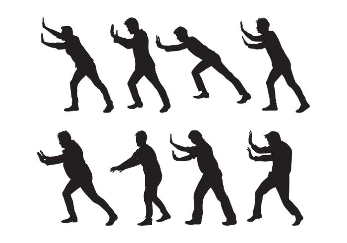 Free Man Pushing Silhouettes Vector