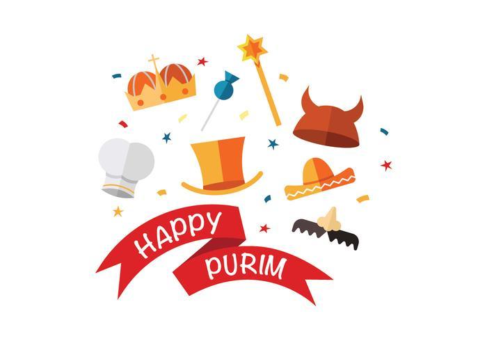 Gelukkige Purim Vector iconen