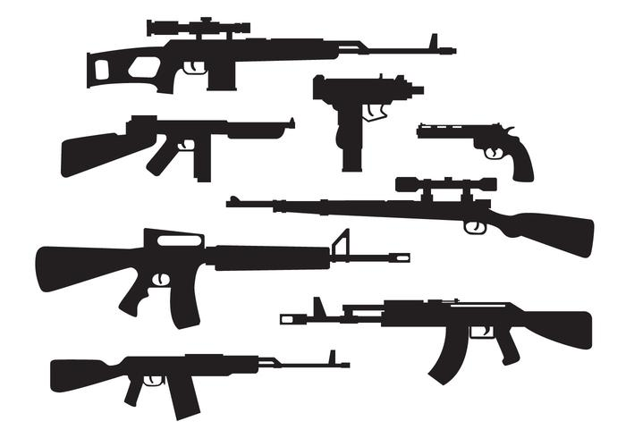 Military Weapons Silhouette Vector