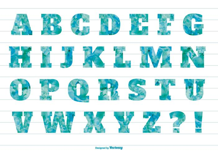 Alfabeto strutturato acquerello blu