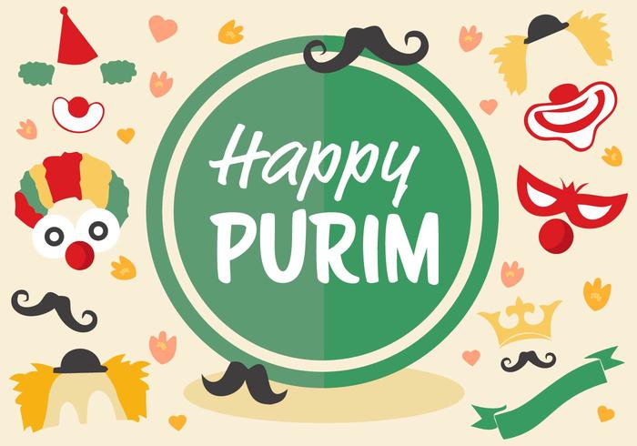 Vetor de purim do feriado judeu livre