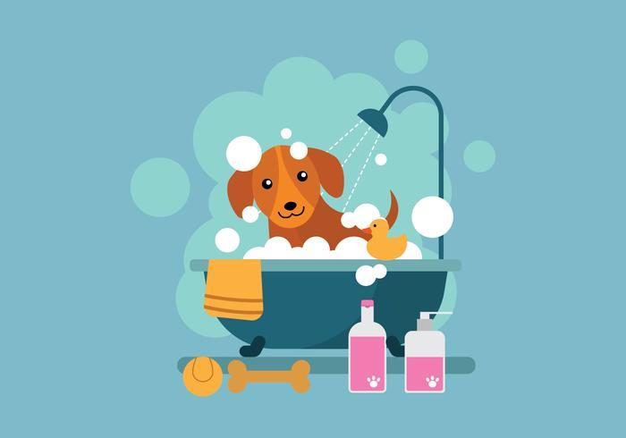 Free Cartoon Dog Taking a Bath in Bathtub Illustration