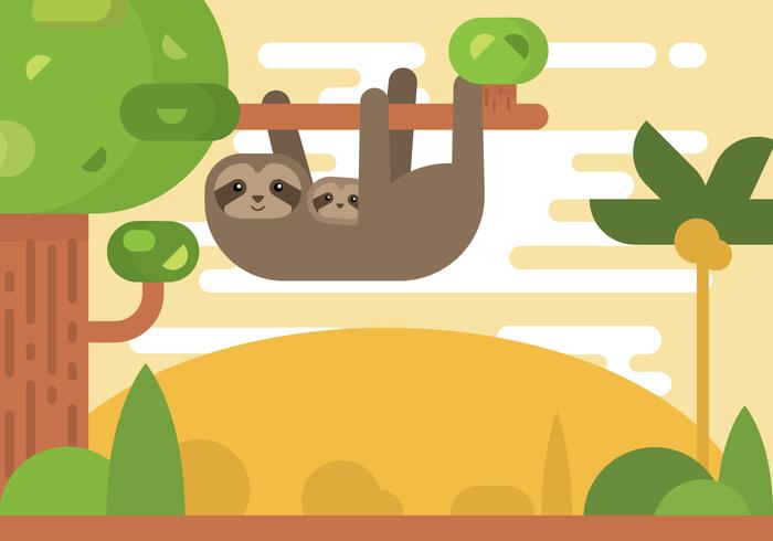 Free Cartoon Sloth on The Tree Vector