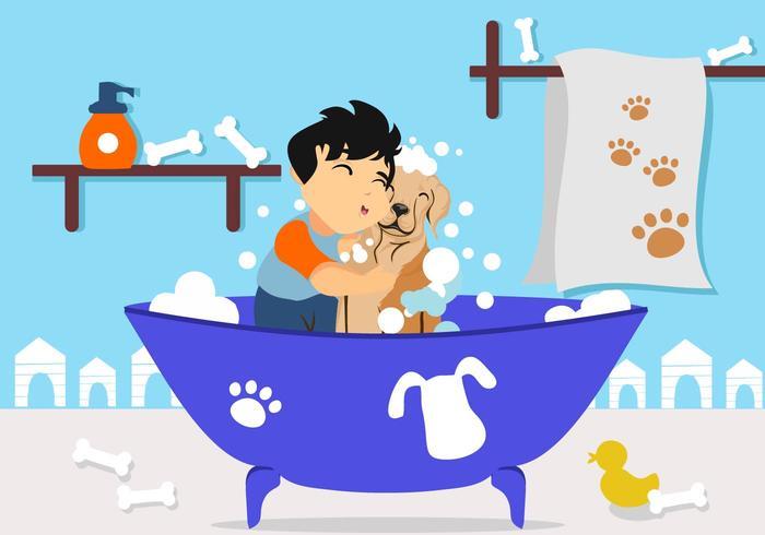 Fri pojke tvättar sin hund vektor