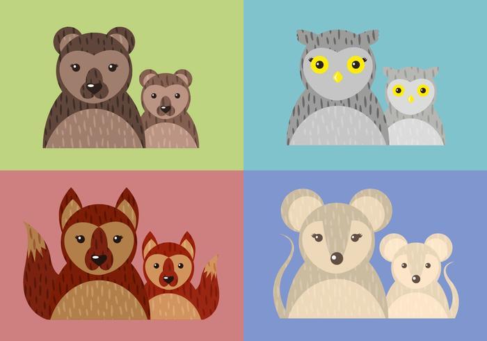 Mom Child Animal Vector Illustration