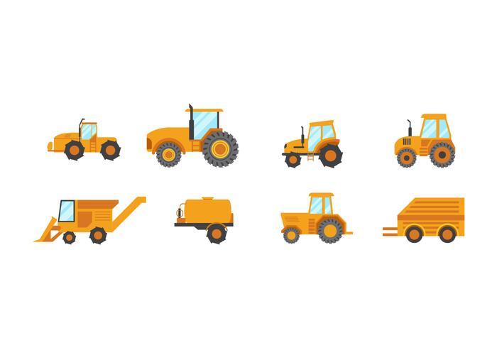 Conjunto de vetores Flat Tractors gratuitos