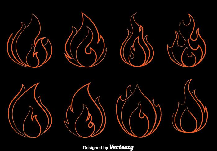 Fire Flame Outline Vector