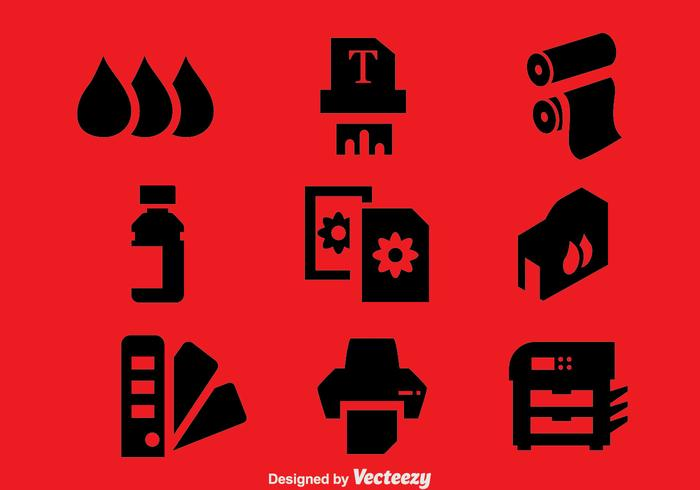 Printer Element Icons Vector