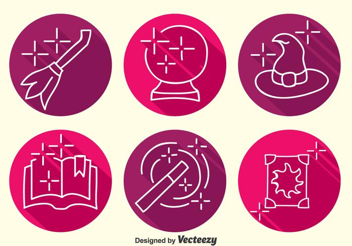 Hogwarts Element Line Icons Vector