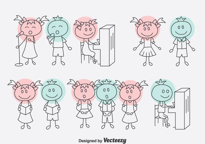 Handdragen Cartoon Choir Vector Set