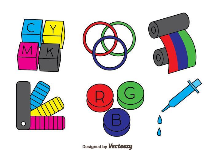 Handdragen skrivare toner vektor uppsättning