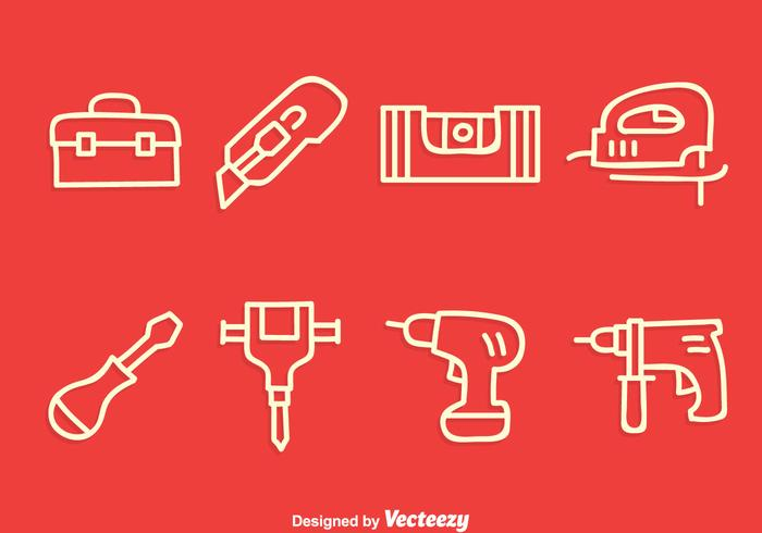 Construction Tools Line Icons Vector