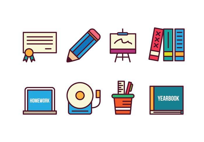 Conjunto de ícones grátis da escola
