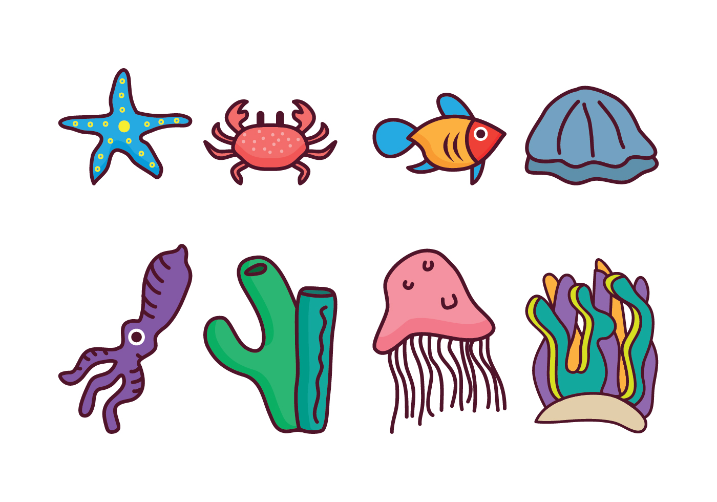 Free Coral Reef Vector Pack - Download Free Vector Art ...