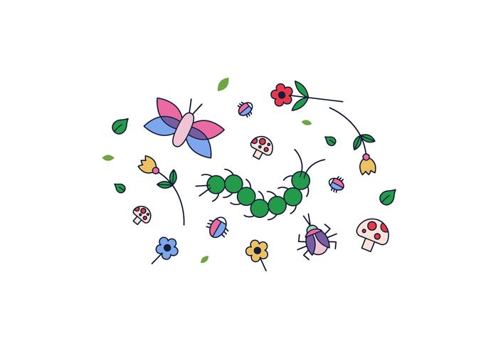 Flowers and Bugs Vector