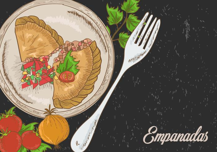 Empanadas Fried With Garnish Illustration