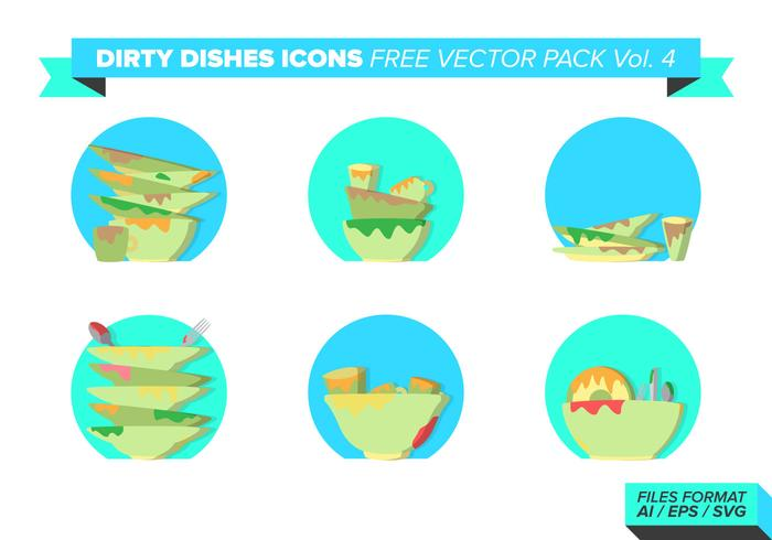 Dirty Dishes Icons Free Vector Pack Vol. 4