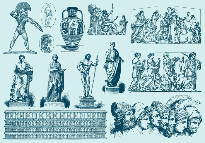 Blue Greek Art Illustrations