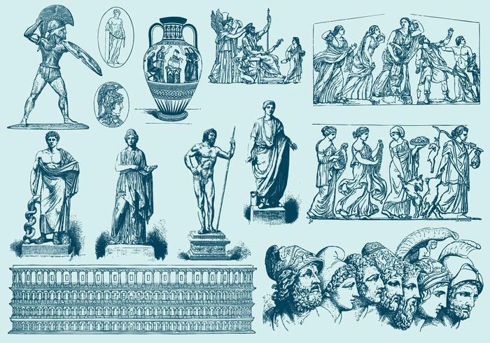 Illustrations d'art bleu-grec
