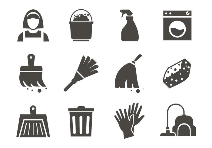 Free Maid Service Cleaning Icons Vector