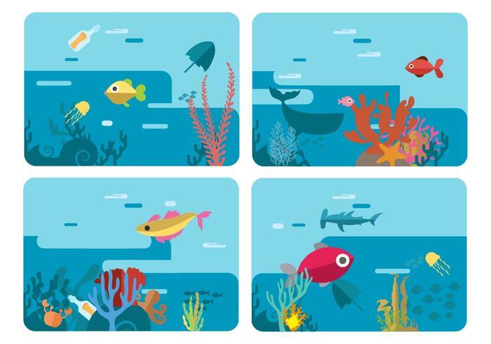Mundo libre subacuático de la vida marina ilustración vectorial