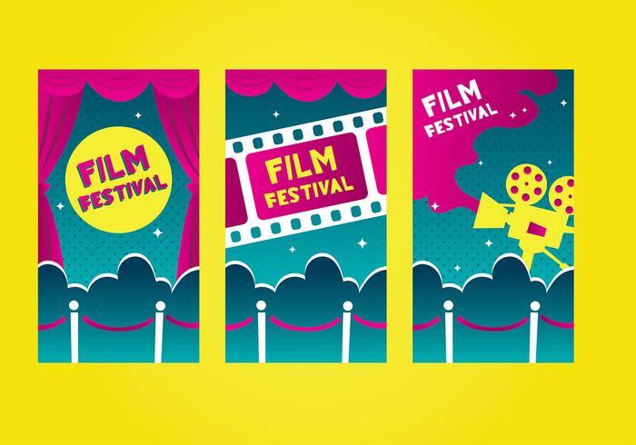 Velvet rope filme festival template vector