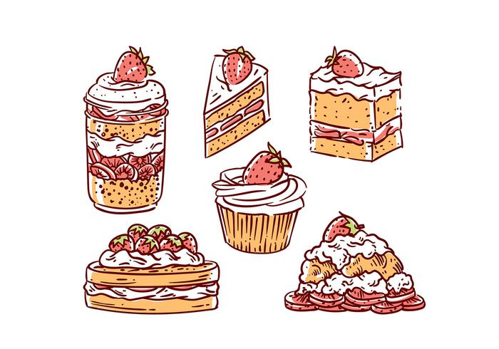 Strawberry Shortcake Illustration Vector Free
