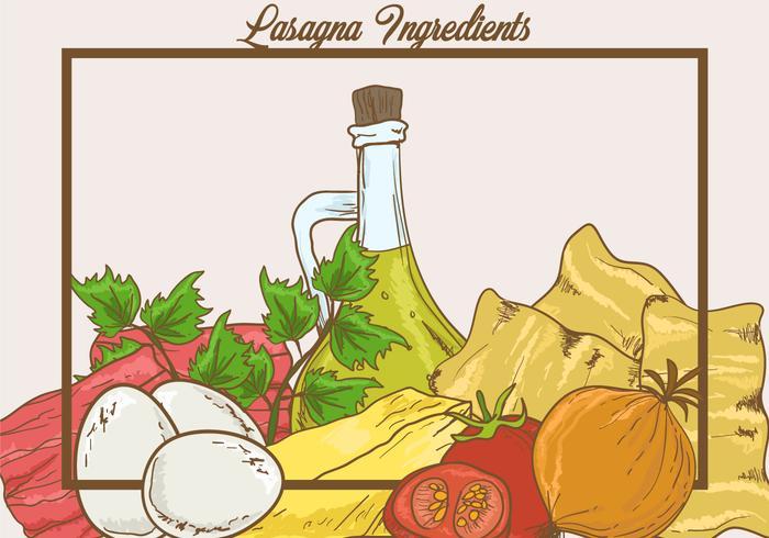 Ingredients of Lasagna Vector