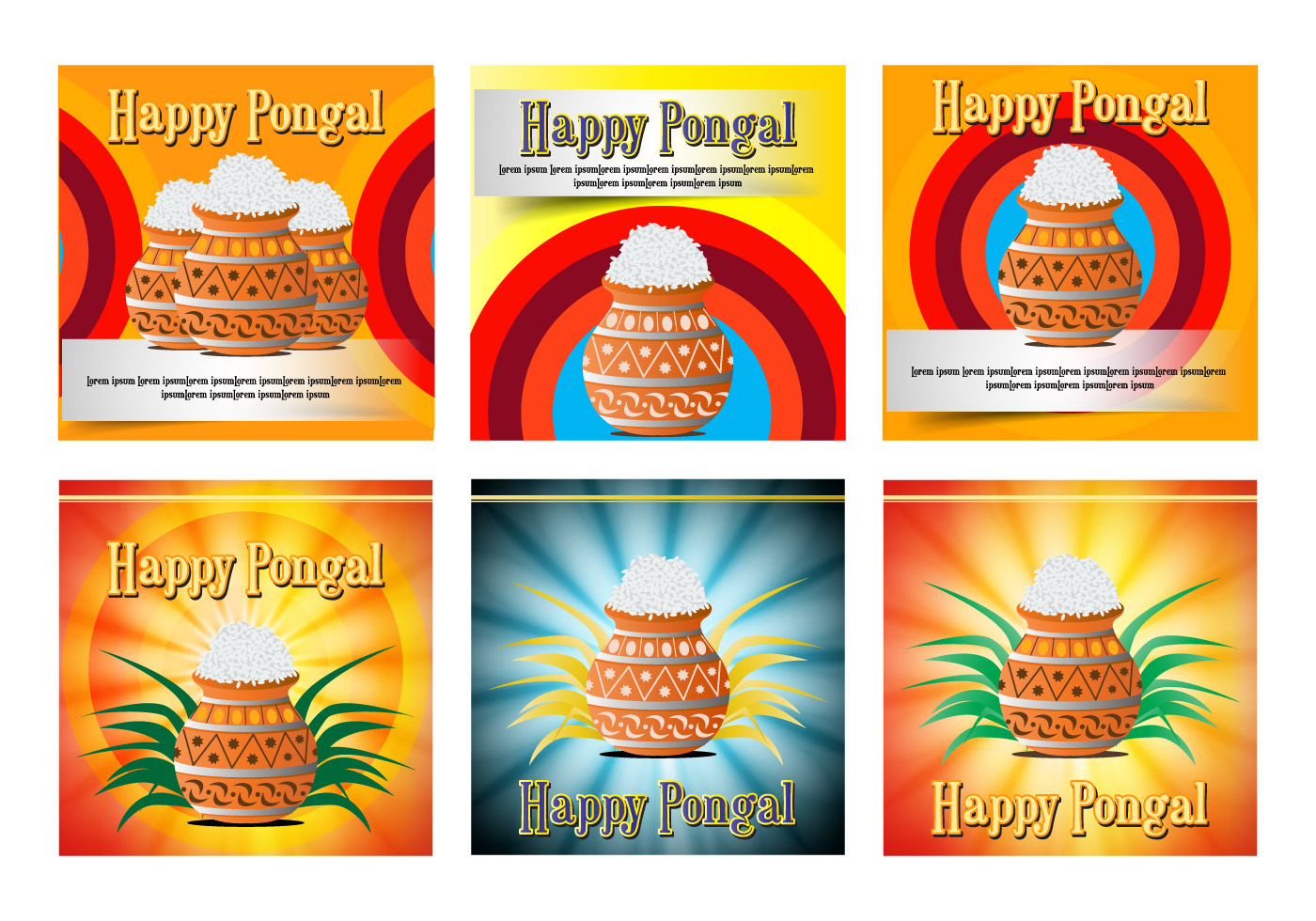 Happy Pongal Celebration Card Poster Download Free Vector Art