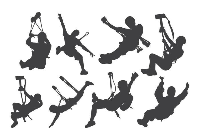 Vecteur de silhouette d'action Zipline gratuit