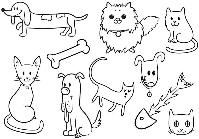 Cute Cat and Dog Vectors