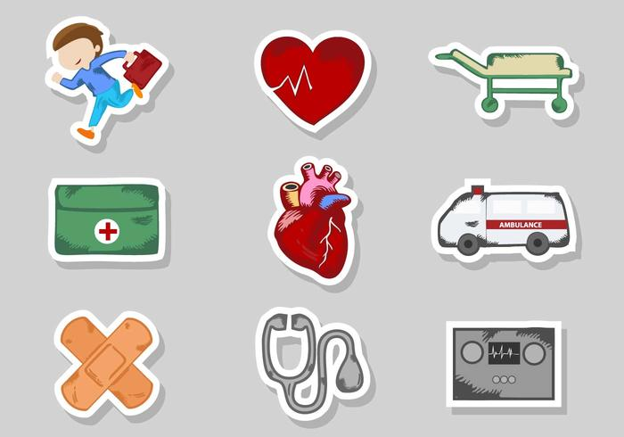 Free CPR Stickers Icons Vector