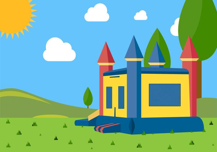 Illustration Landscape of Bounce House Vector
