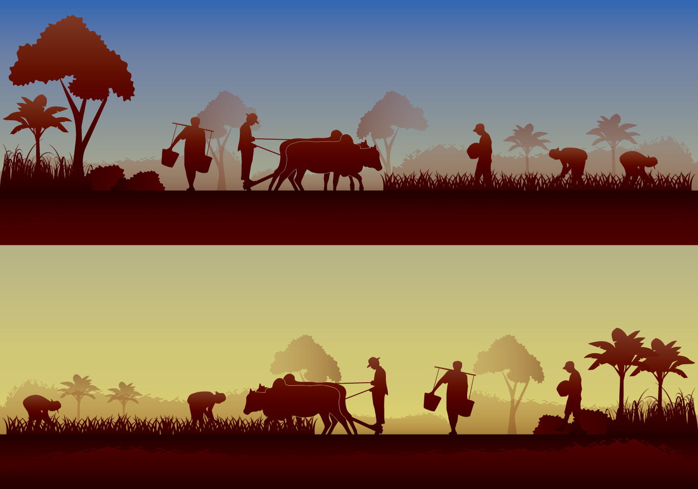 asian farmer silhouette download free vector art stock