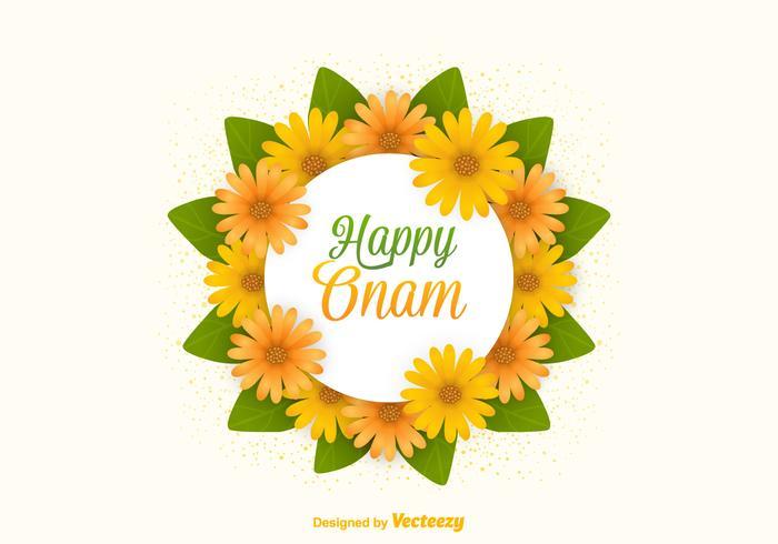 Vector Happy Onam Flowers Card