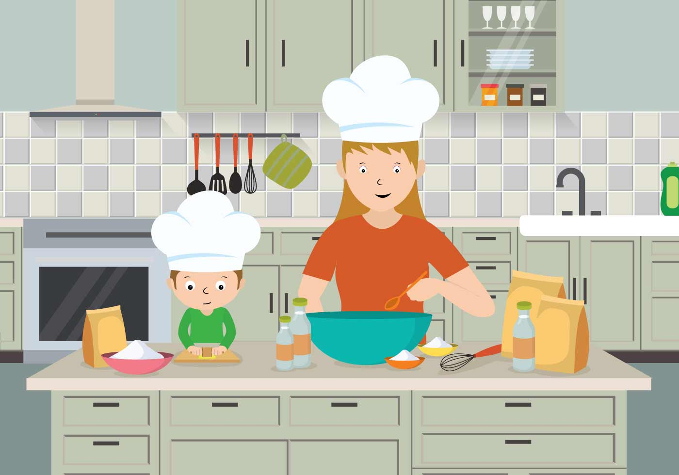 Free Mom And Child Cooking Illustration - Download Free ...